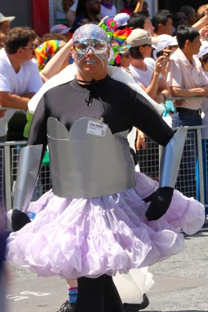 I think this guy was part of a float with a superhero theme.