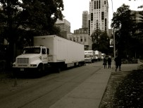 Lots of trucks parked down Charles St. Filming taking place somewhere but couldn't see where exactly.