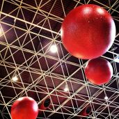 Big red ball sculpture in the airport