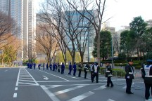 Police guarding the marathon route
