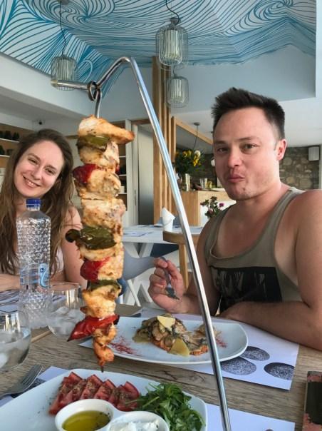 Lunch! That's my souvlaki.