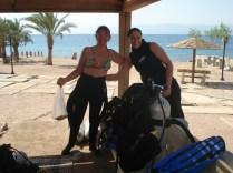Susane e eu depois do primeiro mergulho