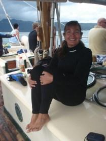 Pronta para o primeiro snorkel. A roupa é por conta das agua vivas