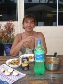 Nosso almoço com Bundaberg Rum que é famoso por aqui. Não gostamos muito ainda bem que foi grátis.