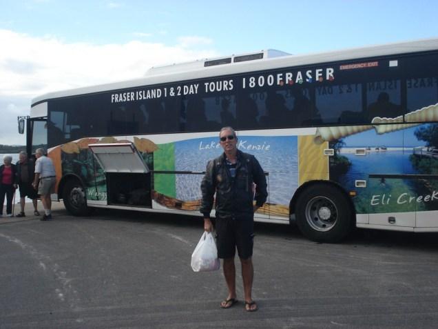 Começo da aventura: ônibus que levou a gente até o ferry