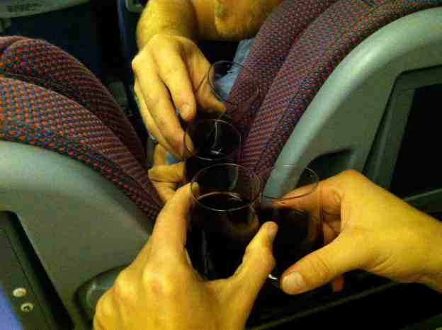 Wine on the plane of course