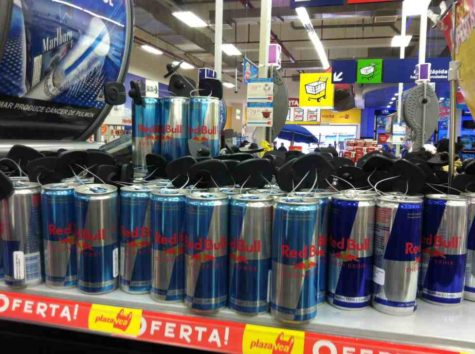 Redbull at the store in Puno is hard to steal