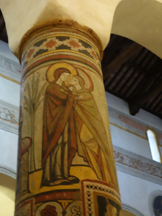 13th C fresco of the Visitation, one of the oldest in the church