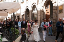 Wedding procession through the streets of Orvieto