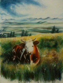 My first pastel illustration for the year, April