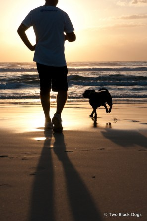 Sunrise on the beach with hubby and Bundy the dog