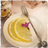 lemon slices with flower and fork