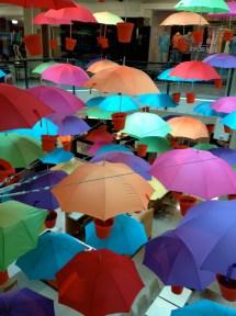 Umbrella installation in a Melbourne shopping centre