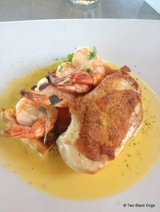 chicken and prawns with a champagne sauce