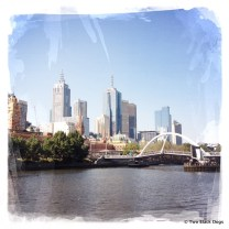 View of Melbourne city from Southbank esplanade