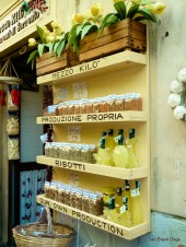 Limoncello on display in a shop