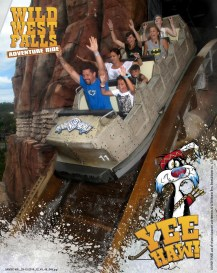 People getting drenched on the Wild West ride