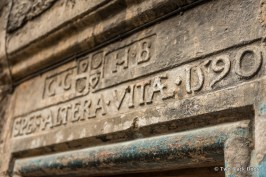 Writing dating back several centuries can be seen above a doorway in Advocate's Close