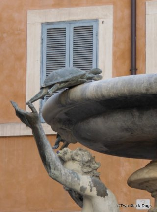 Close up of a turtle on the Fountain of the Turtles