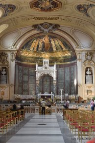 The church nave of Santa Cecilia in Trastevere