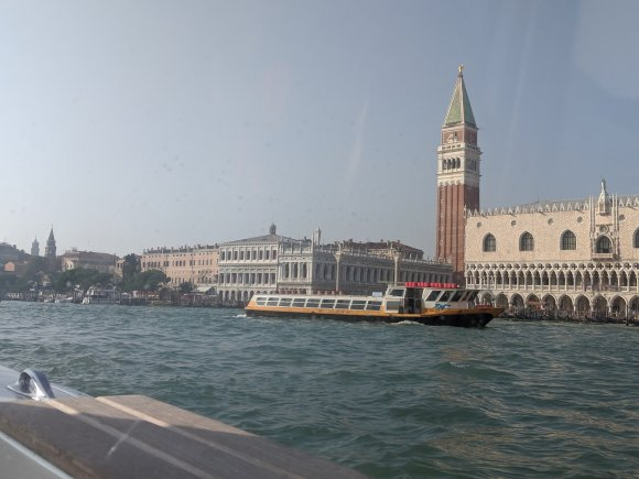 View of Venice with public water taxi on the Grand Canal