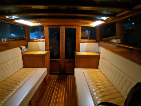 Interior of a Venetian water taxi at night