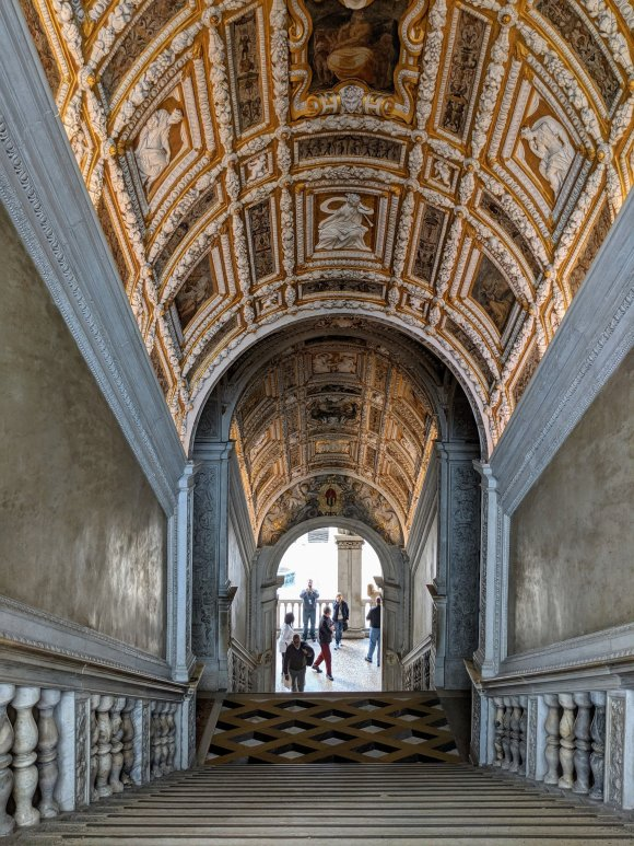 Gilded ceiling of stairwell in the Doge's Palace, Venice, Italy