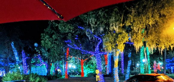 View of holiday lights from Lonnie's Fusion Cuisine, Lake Mary, Florida