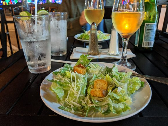 Caesar salad and white wine