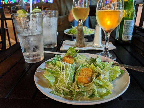 Caesar salad and white wine
