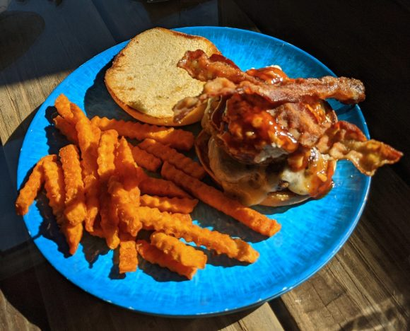 Hawaiian Burger with Sweet Potato fries at the Turtle Shack, Flagler Beach, Florida.