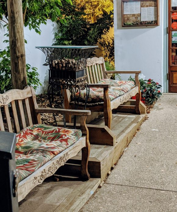 Outdoor seating area at Collage Restaurant, St. Augustine, Florida