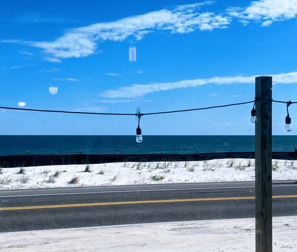 Lovely view of the Atlantic Ocean from the Turtle Shack Cafe - Flagler Beach.  You'll only see this if you avoid I-95 and take A1A!