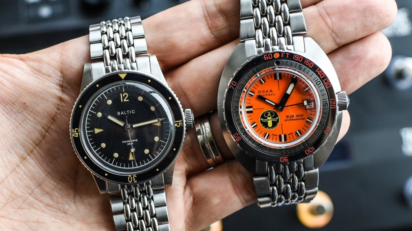 Baltic Aquascaphe and Doxa Sub 300 in hand