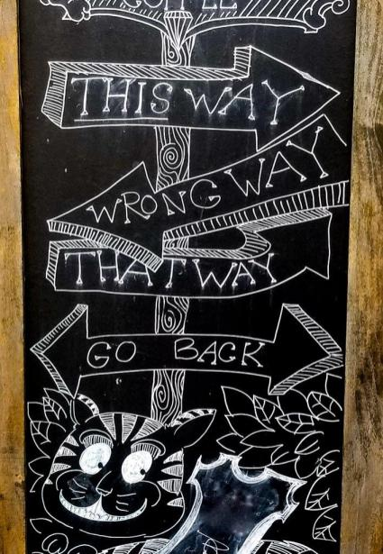 street art -- chalk on chalkboard with competing directional signs and grinning cat