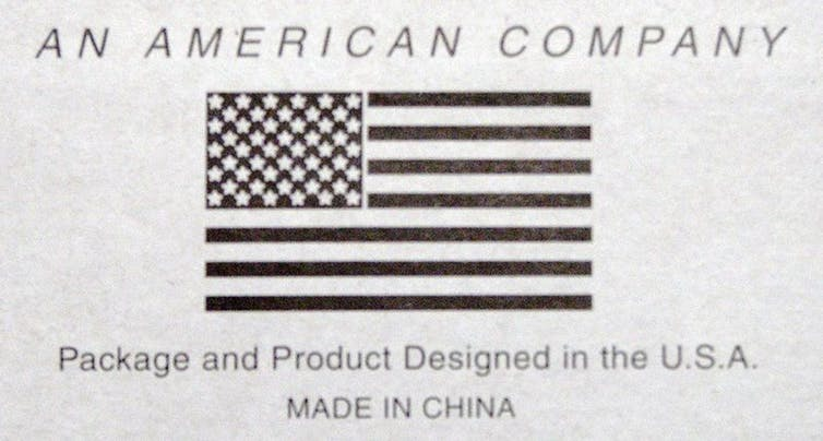 """picture of American flag that says """"An American Company"""" Package and Product Designed in the U.S.A Made in China"""