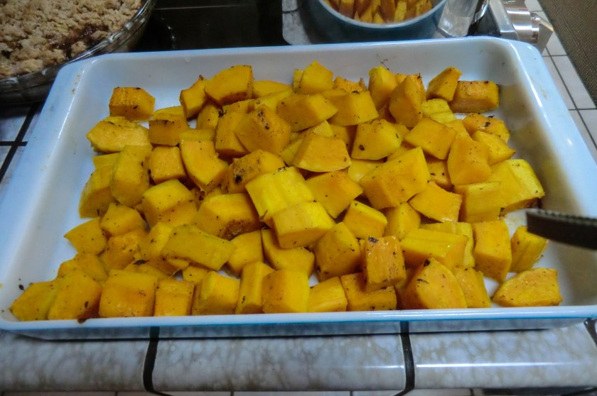 A plate of yellow, cubed squash