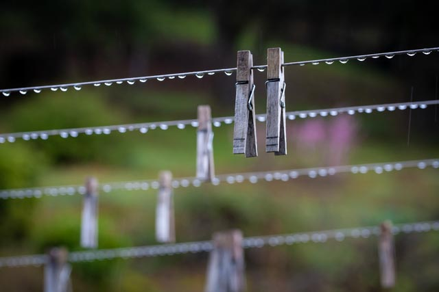 clothesline with raindrops and clothespins hanging from the lines