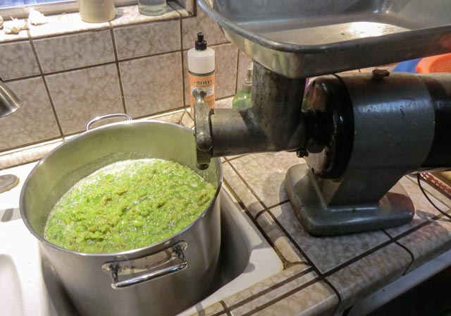 a pot full of tomatillo mush sitting by a grinder