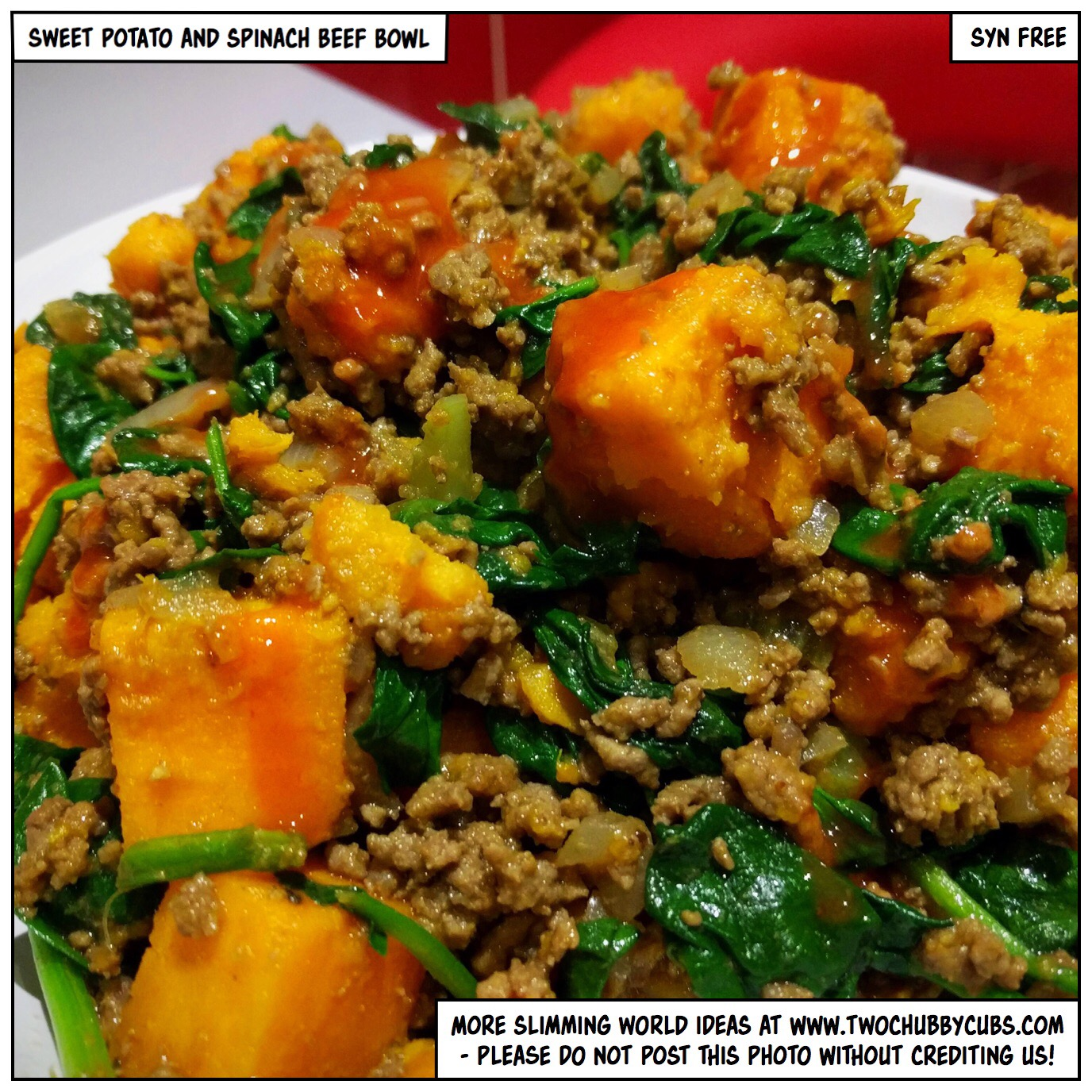 Syn Free Sweet Potato And Spinach Beef Bowl Twochubbycubs