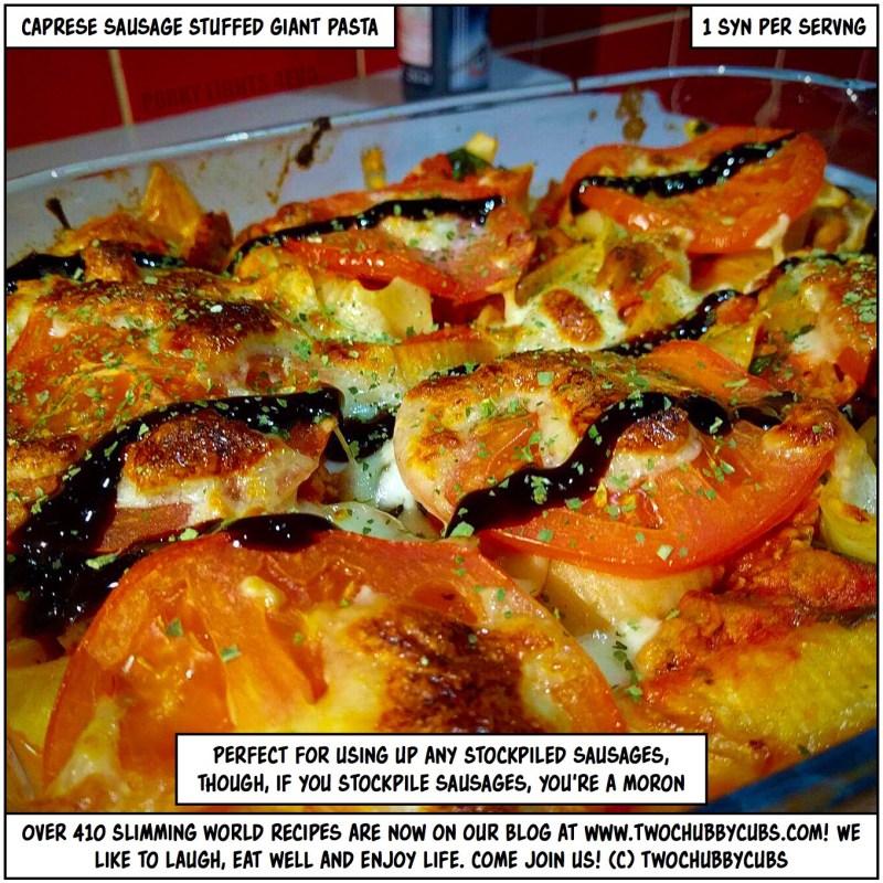 caprese sausage stuffed pasta