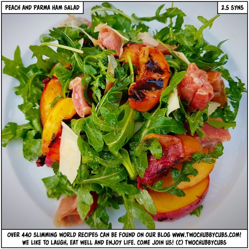 roast peach, parma ham and Gruyère salad