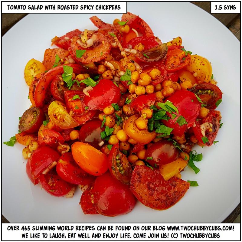 tomato salad with roasted spicy chickpeas