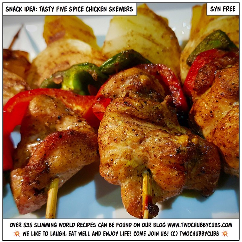 five spice chicken skewers
