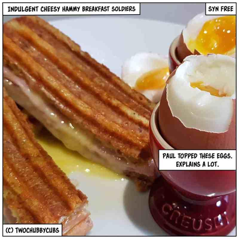 cheesy hammy breakfast soldiers