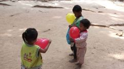 Cambodia: Children with balloons
