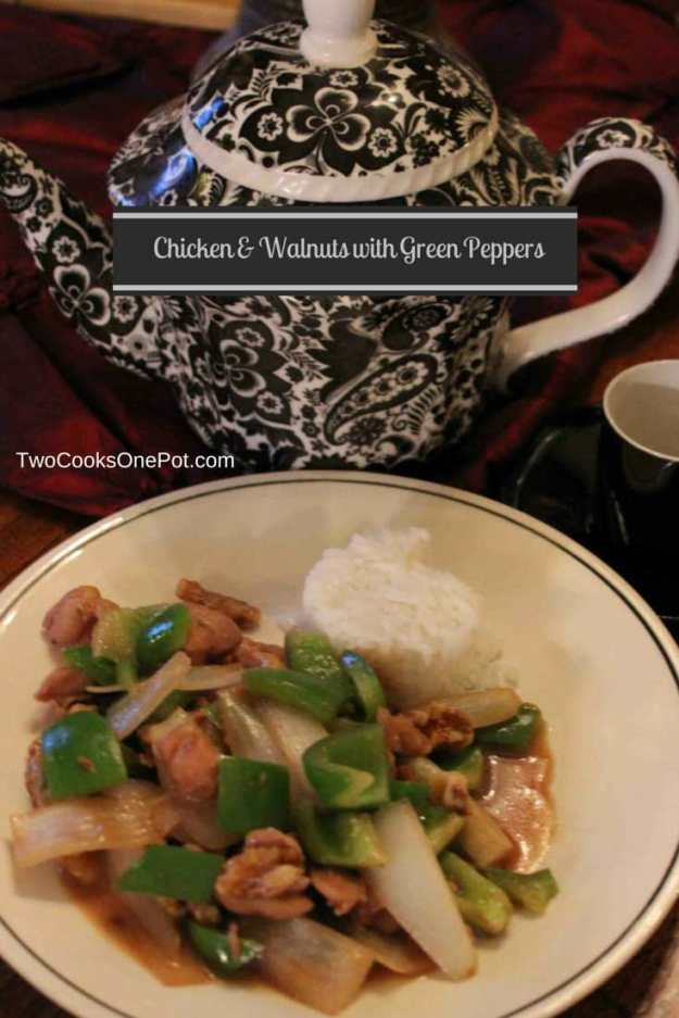 http://twocooksonepot.com Chicken and Walnuts with Green Peppers