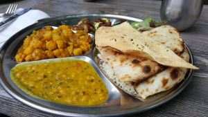 Indian chapati with chickpea and lentil side dishes; cross-cultural marriage tips