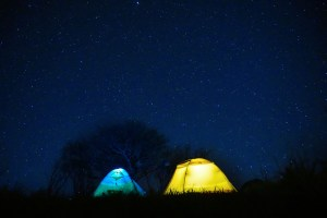 Two lighted tents in a field at night