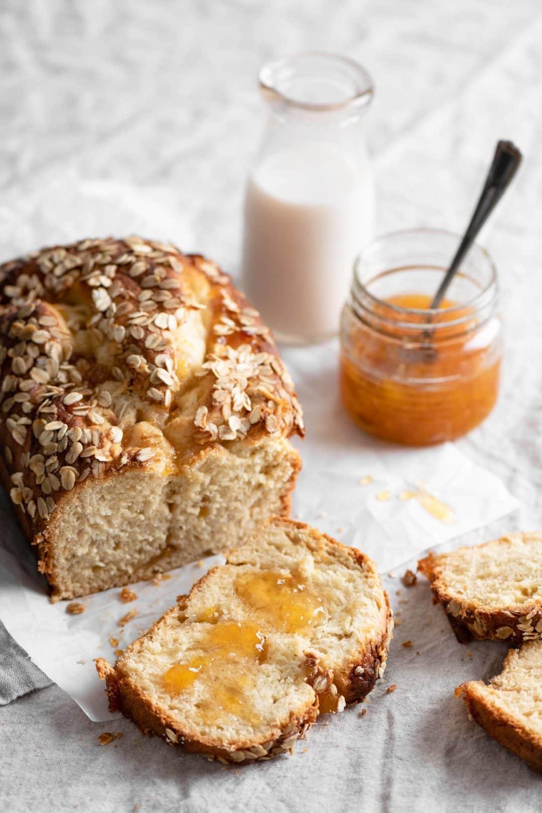 Peach brioche Bread served with peach preserves and milk